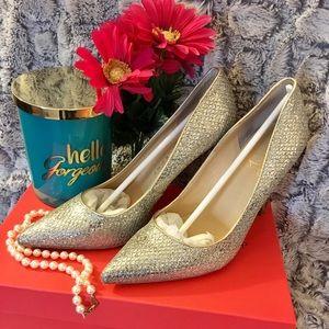ed5099d78d2 Ivanka Trump Shoes - Ivanka Trump Carra 2 Gold Silver Shimmer Heels
